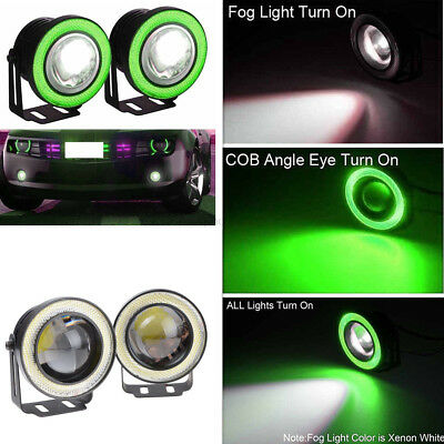 "Car SUV 2.5"" Angel Eye Green COB Halo Ring Projector LED DRL Daytime Fog Lights"