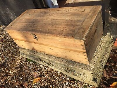 Large Antique Rustic Victorian Stripped Pine Trunk Blanket Box