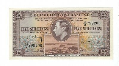 Bermuda - Five (5) Shillings, 1937. !!A-UNC!!