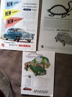 "3 MORRIS BRITISH CAR 1950s 10x14"" size MAGAZINE ADS"