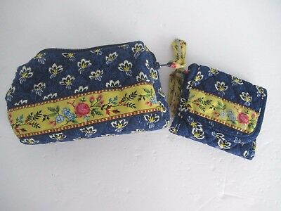 Lot Vera Bradley Maison Bleue Small Cosmetic Case and Tri Fold Wallet