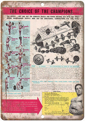 "Joe Weider Barbell Set Magazine Ad Weightlifting 10"" x 7"" Retro Look Metal Sign"