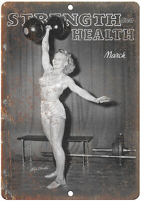 "Strentgh and Health Magazine Womens Bodybuilding 10"" x 7"" Retro Look Metal Sign"