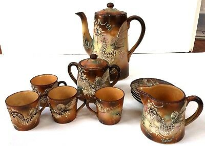Angels Auction Vtg Japanese Tea Set Creamer Sugar Cups Brown Moriage Dragonware
