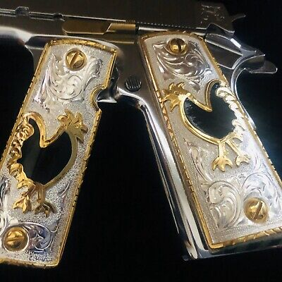1911 Cachas 38 Super 45 Colt Custom Pistol Grips 24K Gold Plated Free Screws