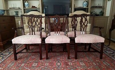 MAHOGANY SET OF 6 CHIPPENDALE DINING CHAIRS #76-070 & 071 by KINDEL FURNITURE