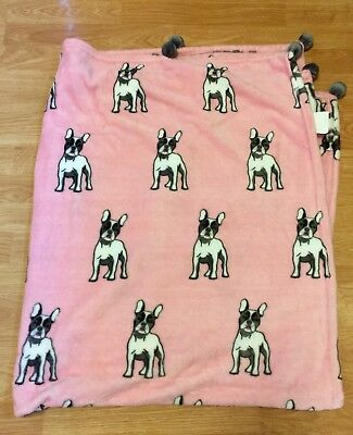 French Bulldog Pink Throw With Pompoms