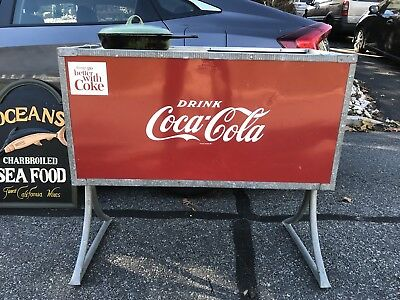 Vintage Original Coca Cola Ice Chest/box Cooler On Legs 3' Long Box W/drain