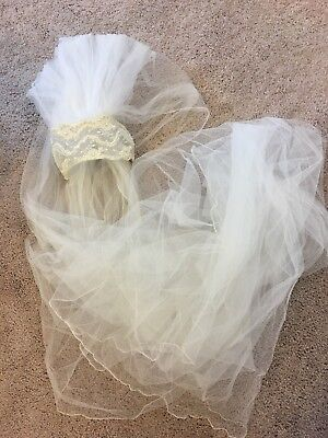 Vintage 70s Bridal Wedding Veil Head Piece, Bride, OFF WHITE/WHITE. 7ft 6in LONG