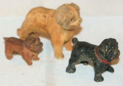 Vintage Hand Carved Wood Wooden Carvings Lot of English Bulldog Dogs Miniatures