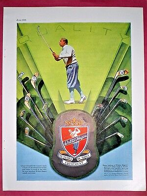 1929 Golf Ad ~ WALTER HAGEN GOLF CLUBS ~ The Ultimate In Golf Equipment
