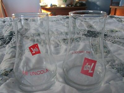 Vintage 7UP The Uncola Upside Down Drinking Glass -- SET OF 2