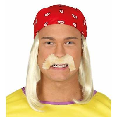Hulk Hogan Wrestler Blonde Wig & Bandana 1980's Fancy Dress Accessory