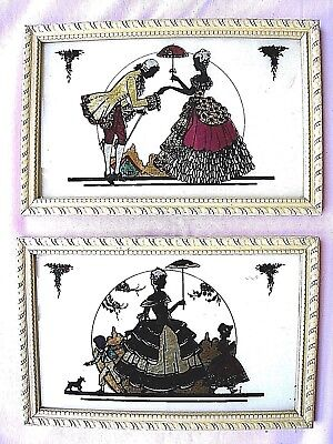 Foil Pictures( Lot of 2)....French Scenes...ca 1760's...Vintage......Colorful...