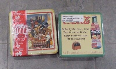 Two Vintage Coca Cola Puzzles (1000 Pc, 500 Pc) in Metal Tins, Still Sealed