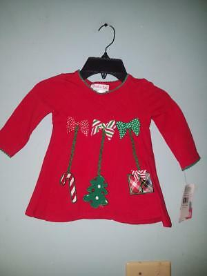 Girl's Jessica Ann Holiday Ornaments Shirt, Red, Size 18 Months  NWT