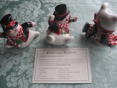 Fitz And Floyd Holly Jolly Snowmen Tumblers Figures In Original Box Vtg Unused