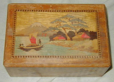 VINTAGE WOODEN JAPANESE PUZZLE BOX w INLAY BIRD, FLOWER, LANDSCAPE