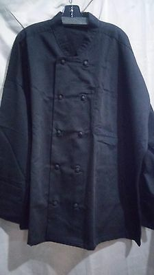 350 Chef Apparel 10 Knot Button Chef Coat-Easy-Care Twill, 4XL, Black