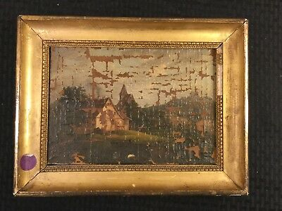 Antique 19Th Century German School Country Cottage Painting For Restoration