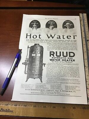 Vintage Ad- 1919 Ruud Manufacturing Pittsburgh Automatic Gas Water Heater