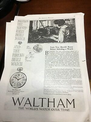 Vintage Ad- 1919 Waltham The Worlds Watch Over Time Vanguard Pocket Watch