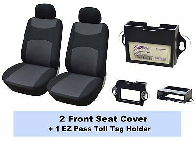 316001 -1 Black - 2 Front Fabric Car Seat Covers + EZ Pass Toll Tag Holder To SE
