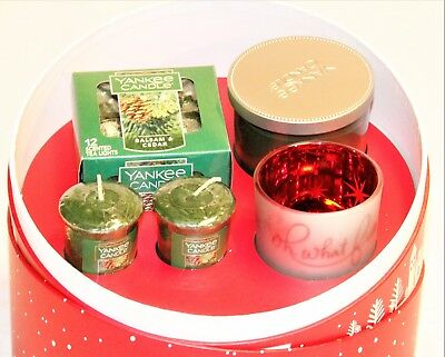 Yankee Candle Holiday Sentiments Balsam & Cedar Gift Set oh what fun Votive Cup