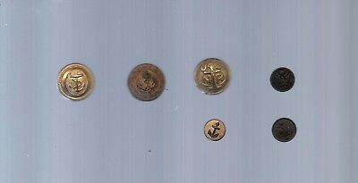Vintage 6 US Military Brass Uniform Buttons Anchor Military USA