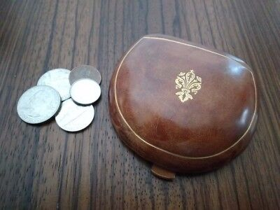 Vintage--Molded Rigid Leather Coin Purse From Rome--Unisex, Unique Fold Design