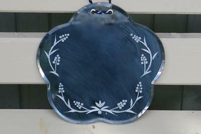 Vintage Wall mirror with Petal Shaped Edge, etched perimeter