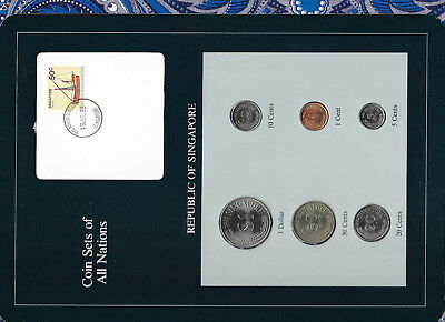 Coin Sets of All Nations Singapore w/card 1981-1984 UNC 5 cents 1983 steel clad