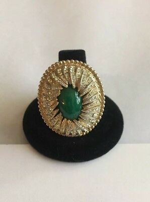 Vintage Cocktail Ring Gold Tone With Rhinestones And Green Center Stone