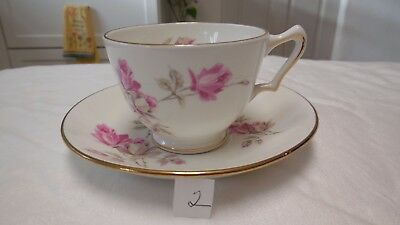 Vintage Staffordshire England Crown Fine Bone China Cup and Saucer in Pink Roses