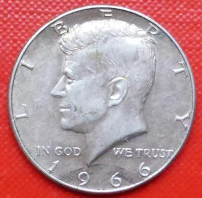 1966 Silver Half Dollar Coin From The United States Of America