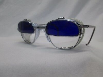 American Optical Welding Glasses Cobalt Flip Up Cable Temples Clear White Glass