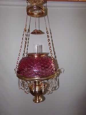 Antique Rochester Hanging Oil Lamp.....with a unique removable center draft font