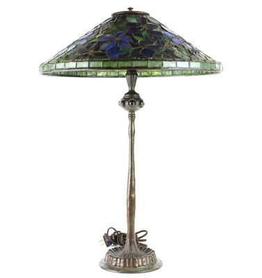 Tiffany Studios Stained Glass Clematis Lamp RARE Lot 298