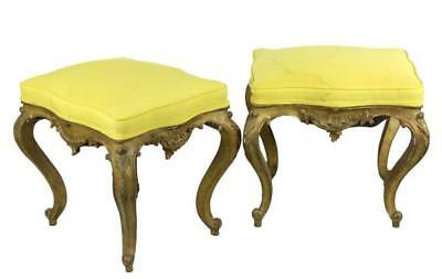 Pair Italian Ornate Carved Gold Gilt Wood Stools Lot 383