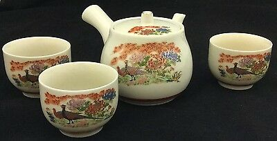 VTG Signed Japanese Infuser Handled Teapot Handpainted Peacock & 3 Cups