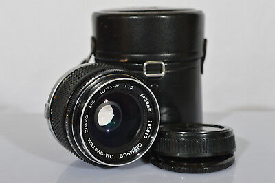 OLYMPUS ZUIKO MC 28mm f2 lens for OM-1  w/ 2 Caps and a Case - EXCELLENT +++