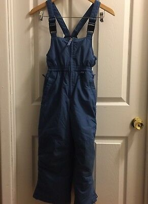 Lands End Squall Kids Boys Sz 7 Blue Snow Pants / Bibs Adjustable Zipped