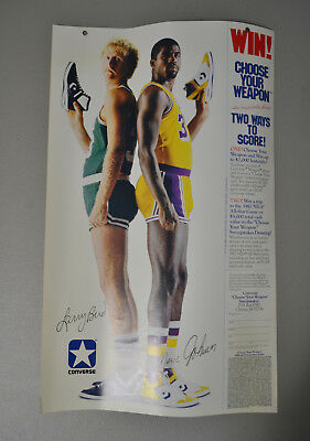 "1986 Larry Bird Magic Johnson 18.75""x11.25"" Converse Shoes Poster Ad Sweepstakes"