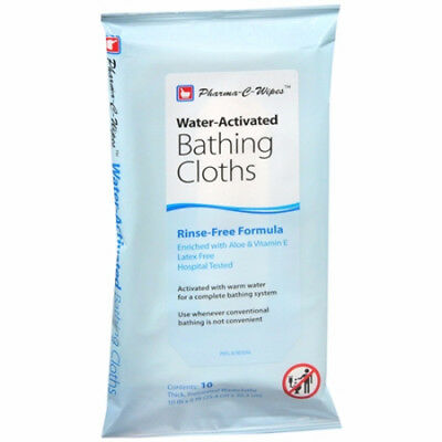 """Pharma-C-Wipes Water-Activated Bathing Cloths, 10 Washcloths, 10"""" X 8"""""""