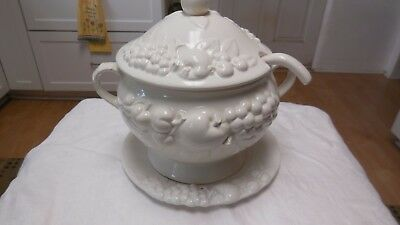 White Soup Tureen with Saucer and Ladle