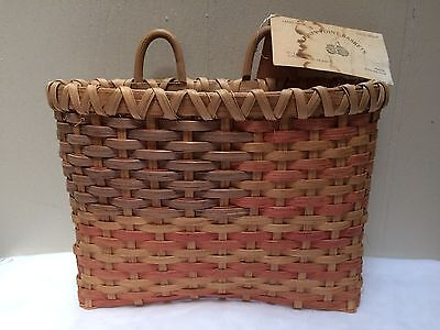 Vintage Hand Woven Basket American Hanging Flag Flower Wall USA Tennessee Signed