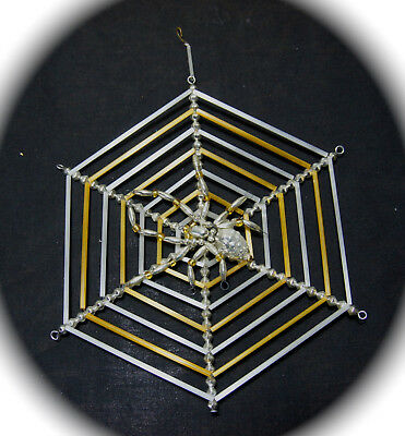 """Retired Christopher Radko Glass Ornament """"large Glass Spider Web With Spider"""""""