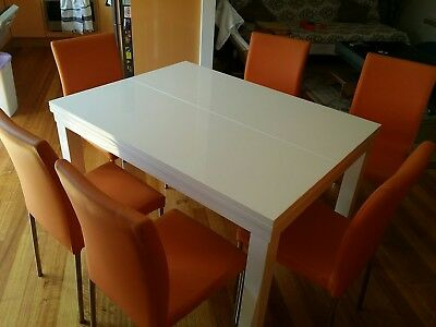 Extendable Modern Table Dining table 10 people with 6 PU chairs