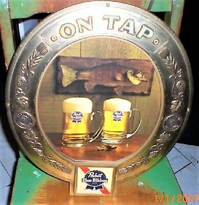 Pabst blue ribbon vintage 2 beers and a fish sign ON TAP