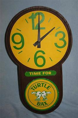 Vintage 70s TURTLE BAX Clothing Jeans Overalls ADVERTISING Wall Hanging CLOCK